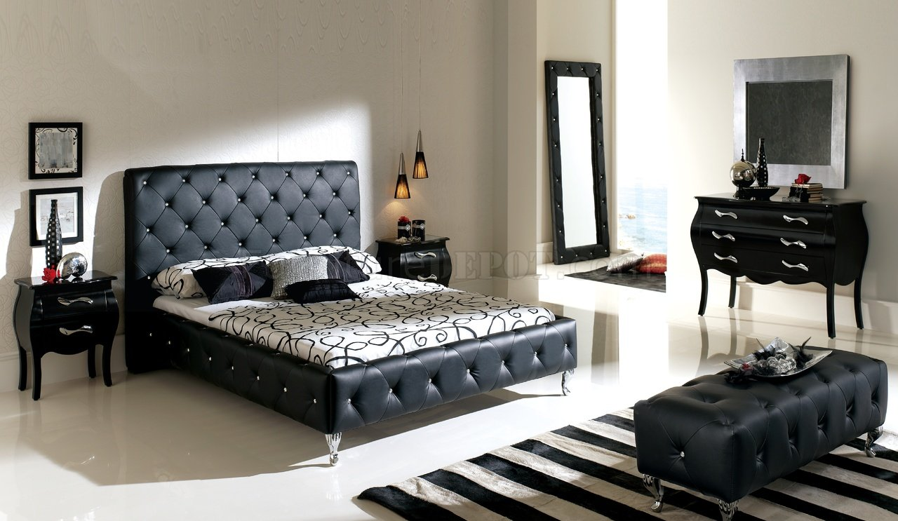 Nelly Black Tufted Leather Headboard Modern Bedroom