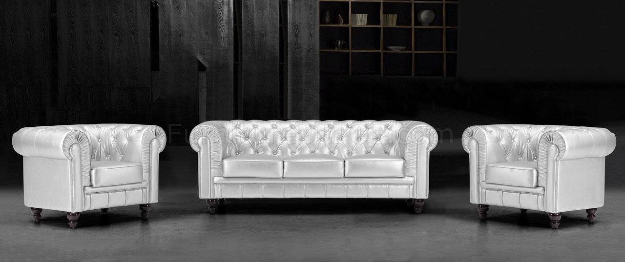 Silver Tufted Leatherette Contemporary Living Room Sofa