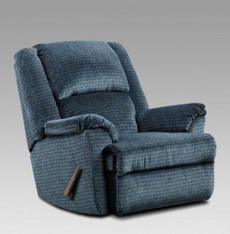 Navy Blue Fabric Modern Elegant Chaise Rocker Recliner