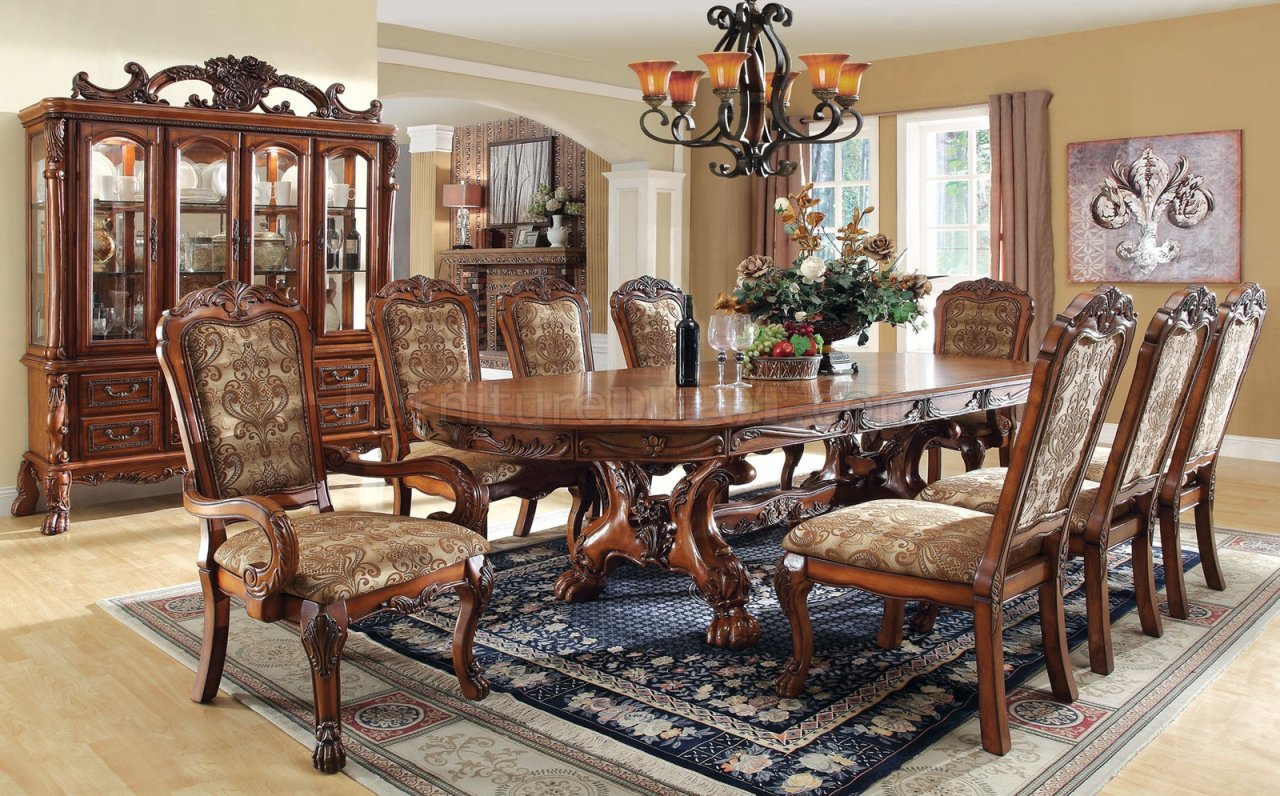 - CM3557T Medieve Dining Table In Antique Style Oak W/Options