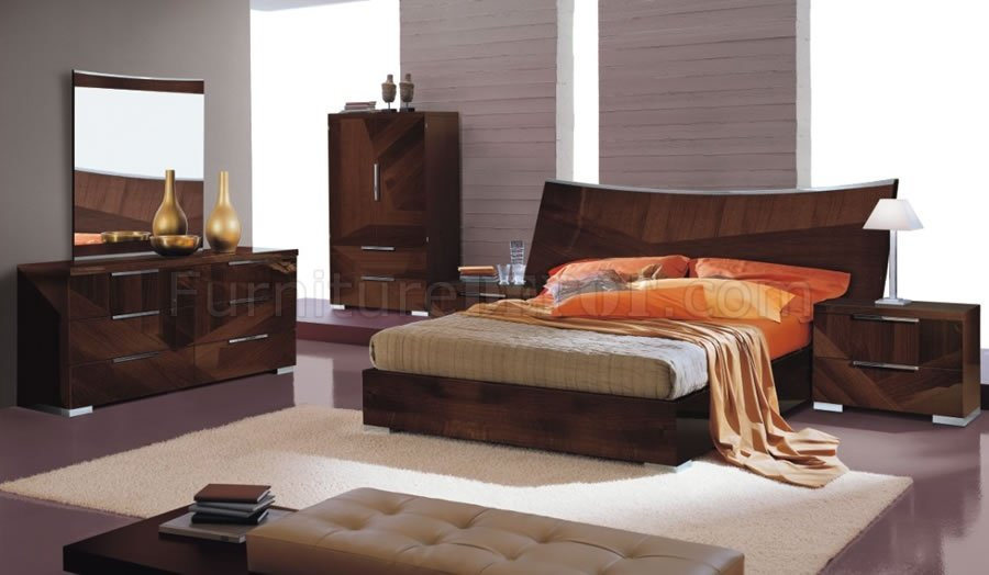 Cherry High Gloss Bedroom Set W Oversized Headboard Cindi Bed