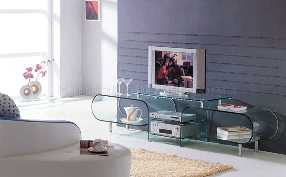 Modern Tv Storage clear glass modern tv stand w/storage shelves