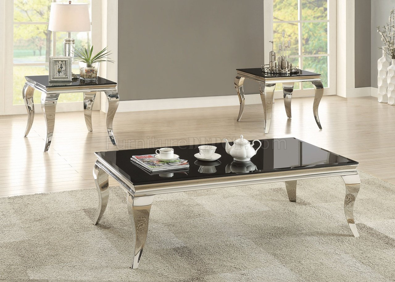 705018 Coffee Table In Black Chrome By Coaster W Options