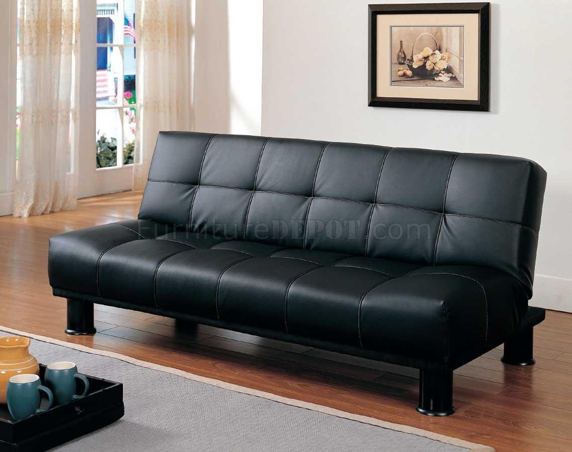 4791pu Elegant Sofa Bed Convertible In Black Vinyl By