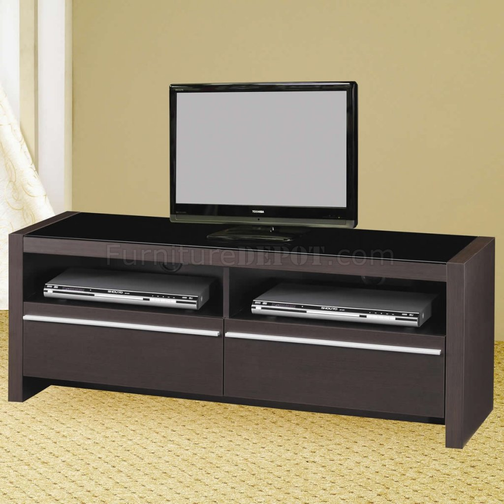 Cappuccino finish modern tv stand w shelves two drawers