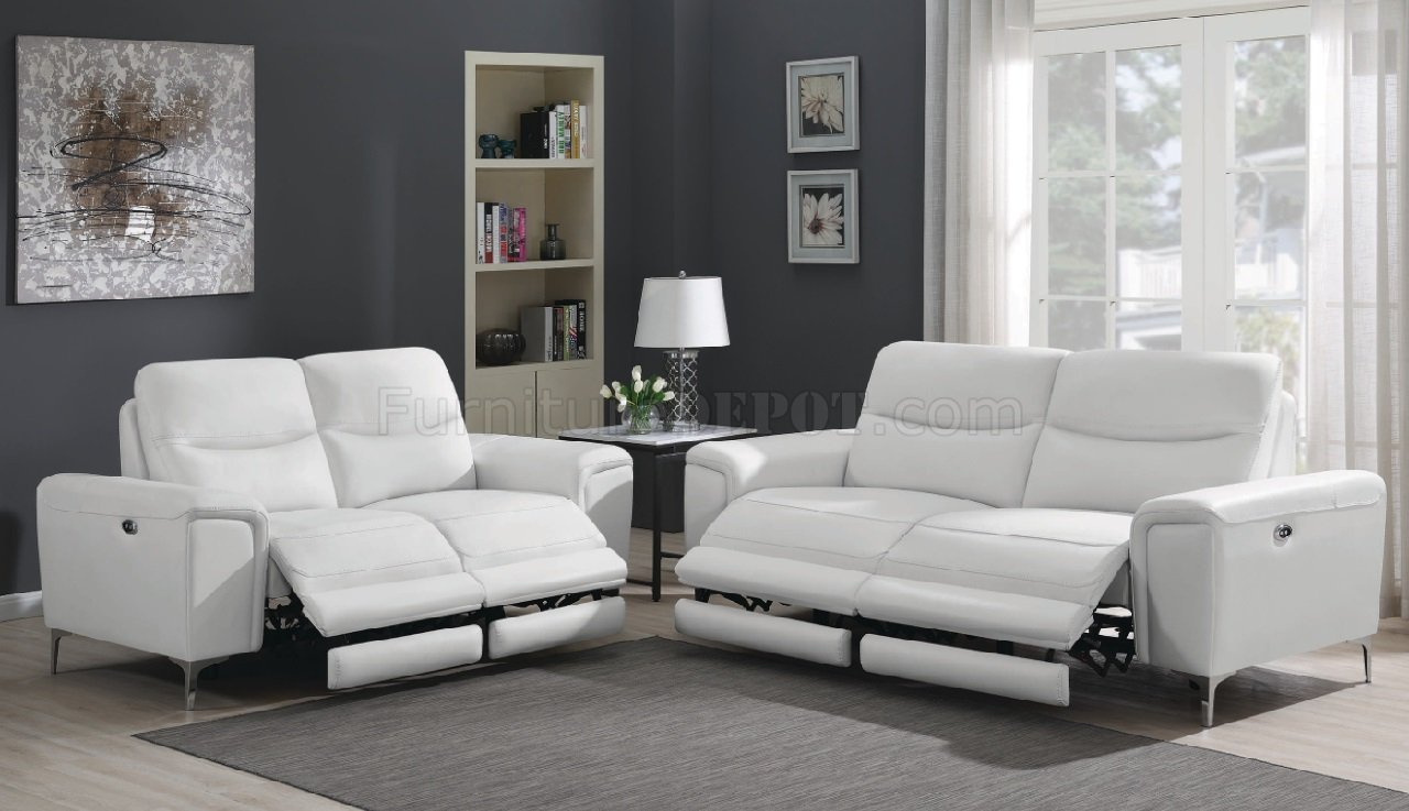 Largo Power Reclining Sofa 603394p In White By Coaster W