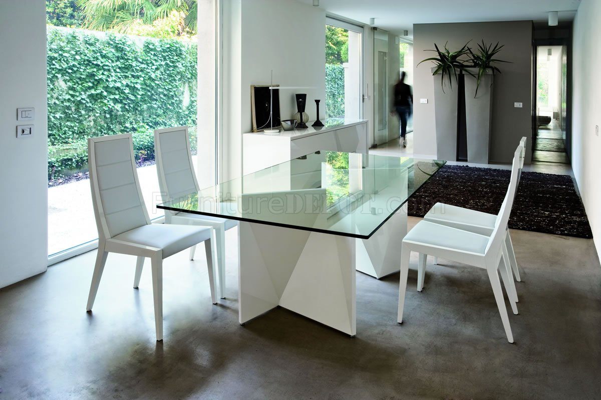 White Ultra Modern Dining Table W Two Pedestal Legs