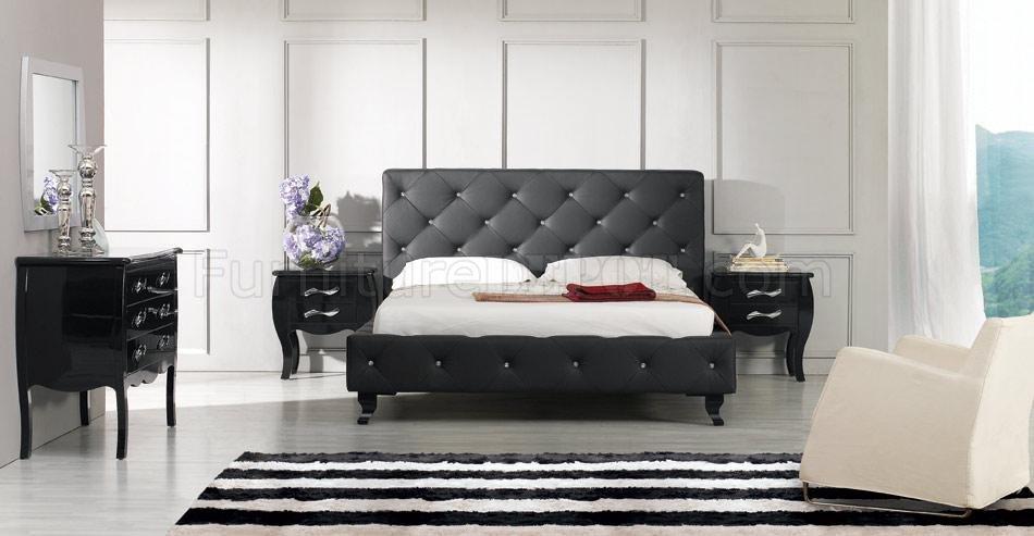 Modern Leatherette 5 Piece Bedroom Set Monte Carlo Black
