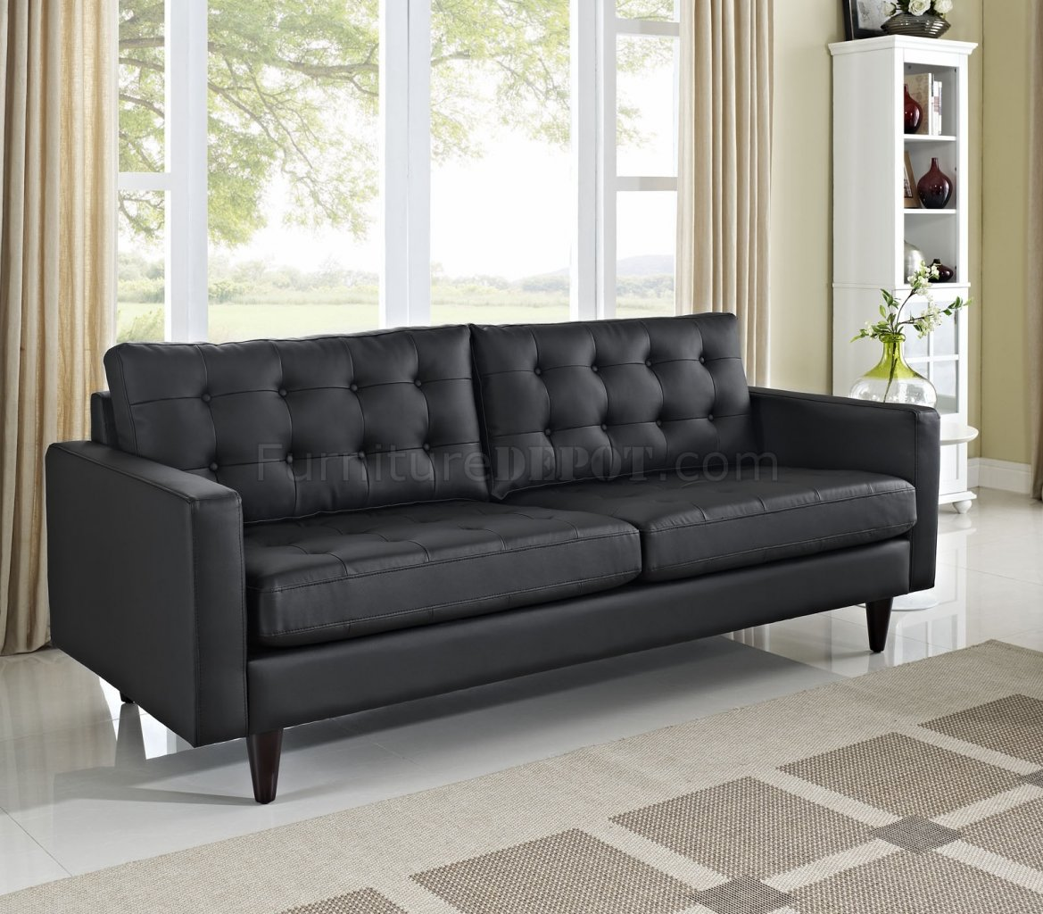 Empress Sofa In Black Bonded Leather By Modway W Options