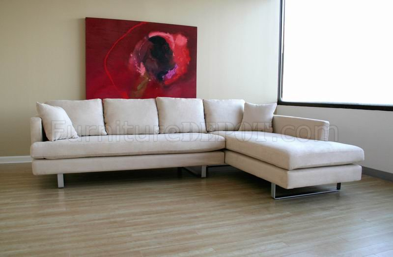 Cream Microfiber Modern Sectional Sofa W Pillows Amp Metal Legs