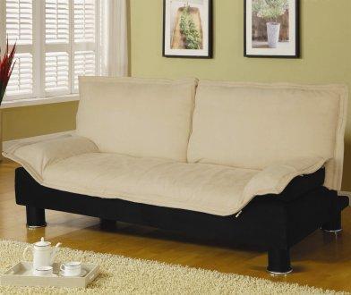 Microfiber Modern Convertible Sofa Bed 300178 Beige Black
