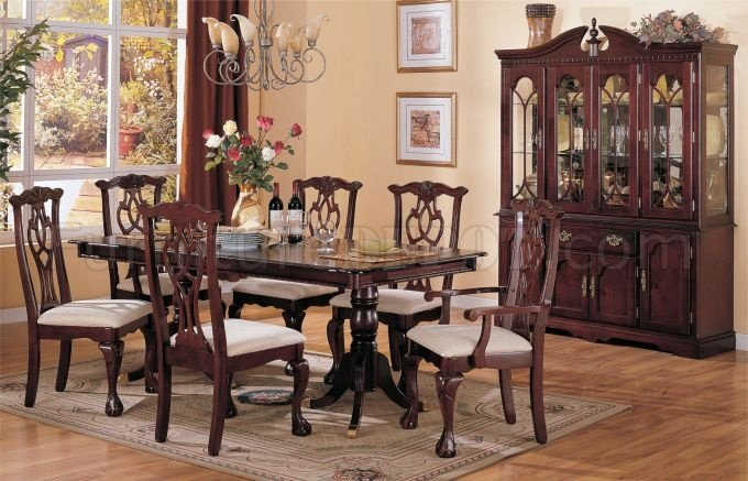 Chippendale Dark Cherry Classic Formal Dining Room W Options