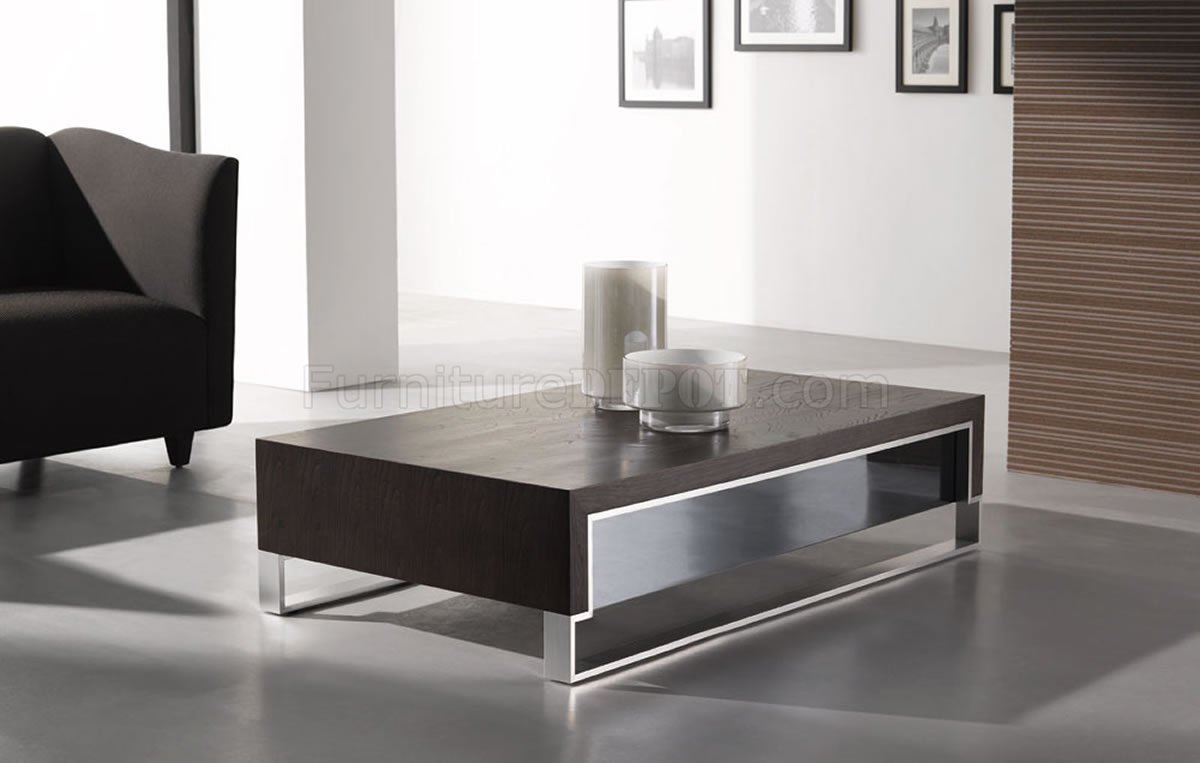 wenge finish contemporary coffee table wside glass -