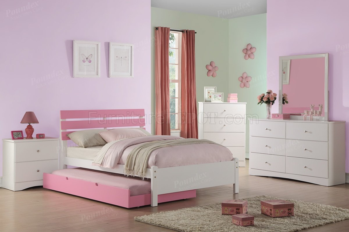 F9323 Kids Bedroom Set 4pc In White Amp Pink By Boss W Options