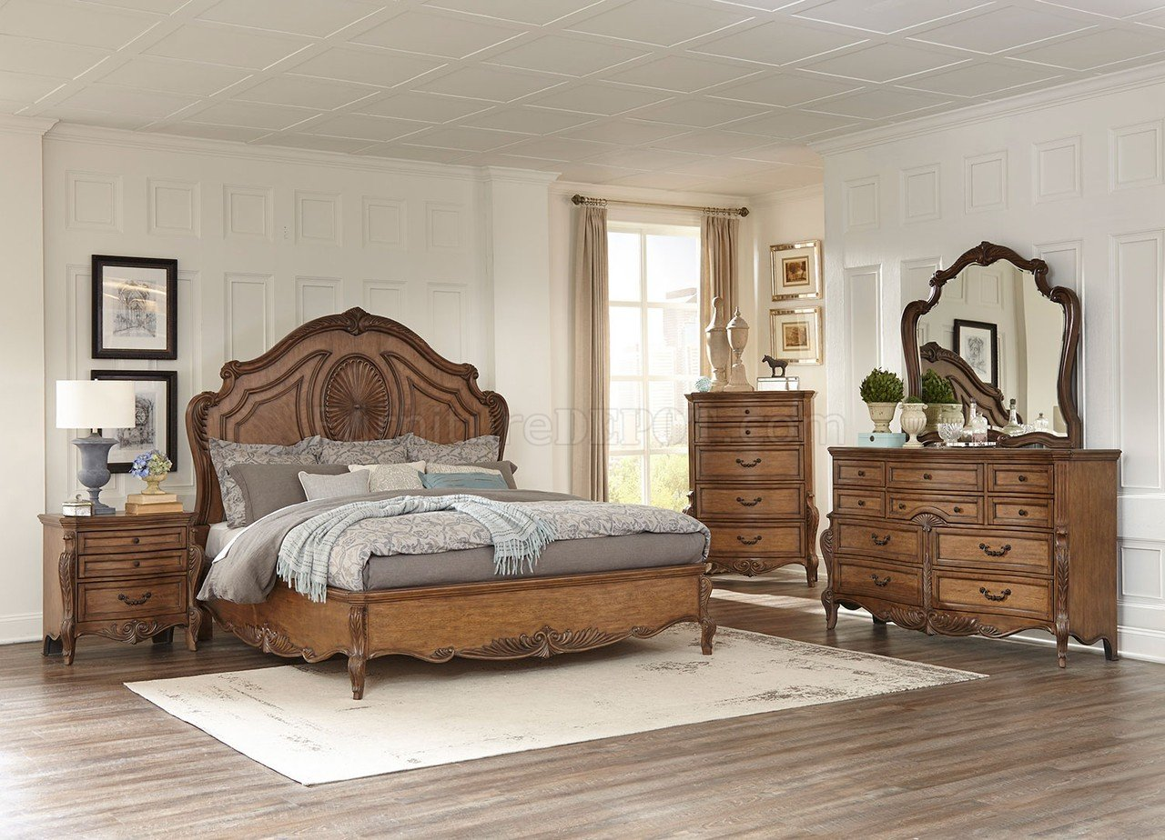 Moorewood Park Bedroom 1704 In Pecan Finish By Homelegance