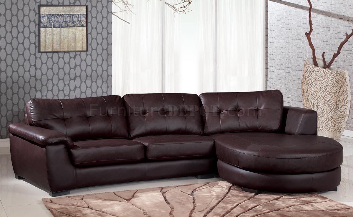 3612 Sectional Sofa in Brown Leather by Global