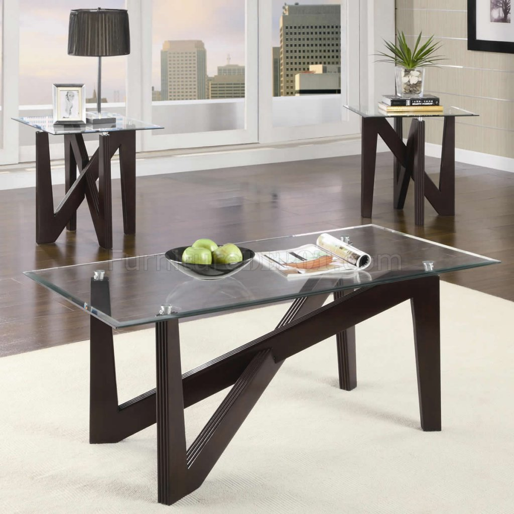 Cappuccino finish modern 3pc coffee table set w glass top Glass modern coffee table sets