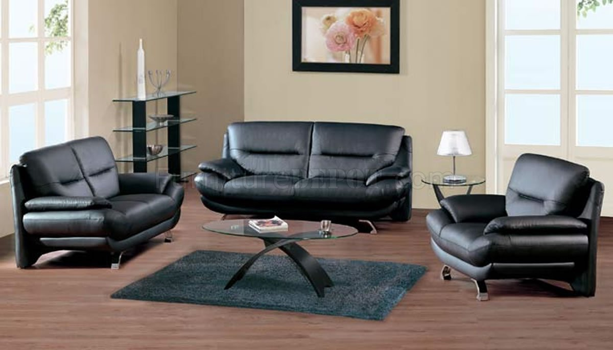 Black leather contemporary 7068 sofa w front metal legs for Black front room furniture