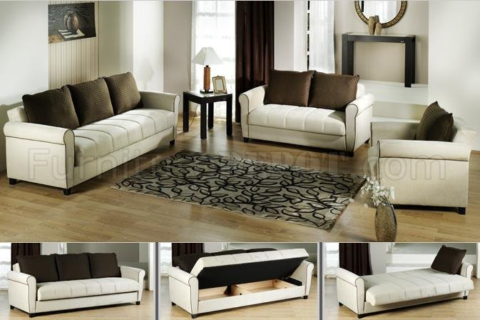 Traditional Taupe Klik Klak Futon Sofa Bed Sleeper Couch