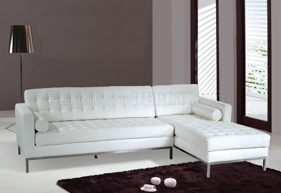 White, Black or Brown Button-Tufted Leather Sectional Sofa AHUSS F14