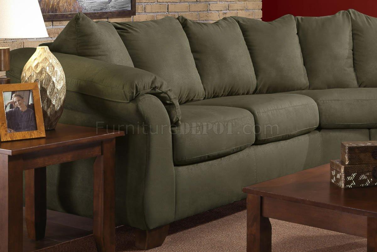Olive Microfiber Modern Sectional Sofa W/Optional Items