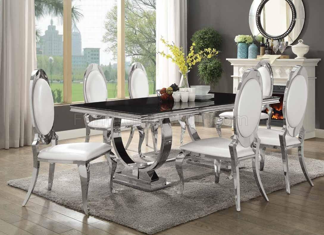 Antoine Dining Table 107871 Coaster W Chrome Base Options