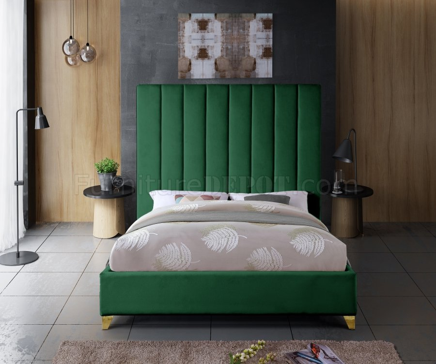 Via Upholstered Bed In Green Velvet Fabric By Meridian