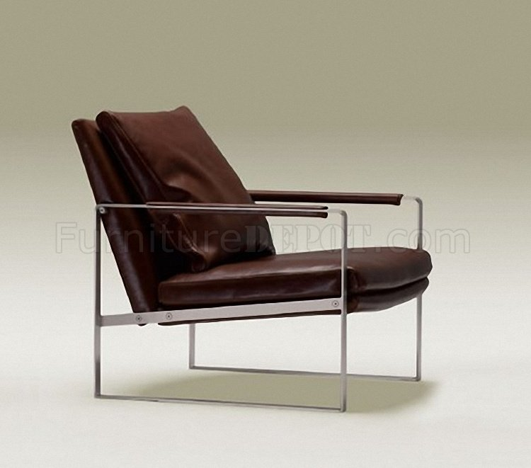 Brown or tan contemporary leather club chair for Modern leather club chair
