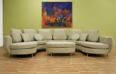 Half Moon Shape Modern Sectional Sofa With Ottoman