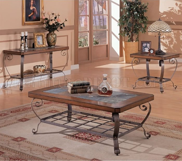 Slate Coffee Table With Drawers: Artistic Brown Finish Coffee Table W/Slate Inlays & Metal Legs