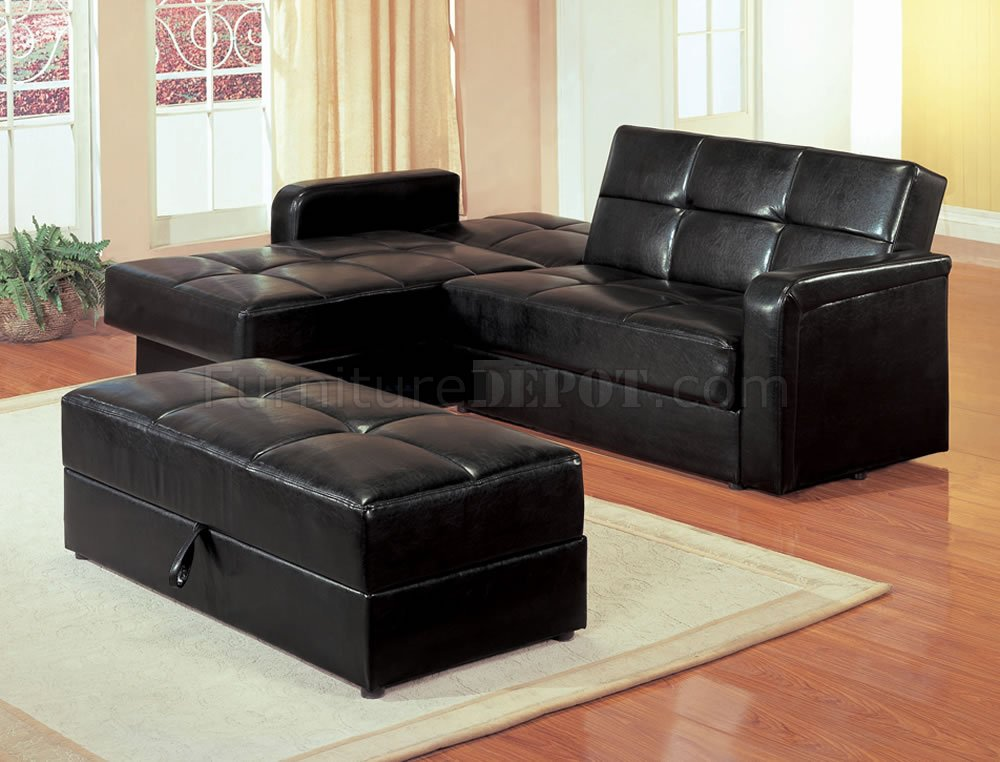 Black Vinyl Modern Small Sectional Sofa W Storage And Ottoman