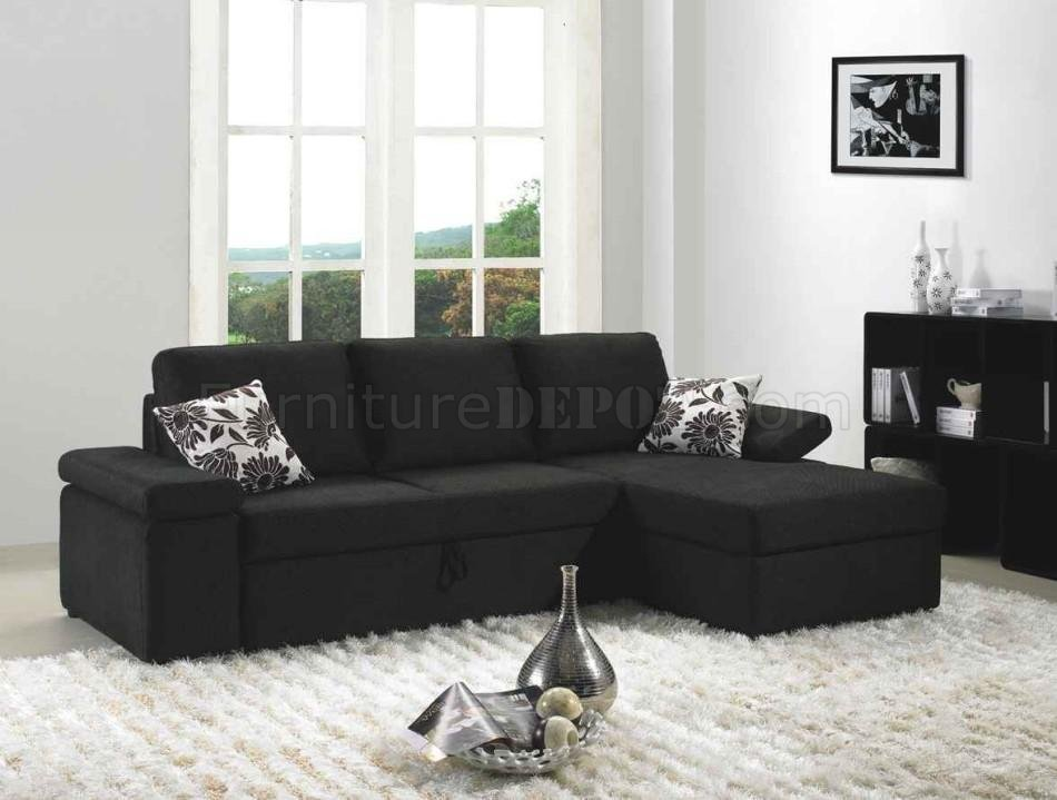 Black fabric modern sectional sofa set w bed for Black fabric couches