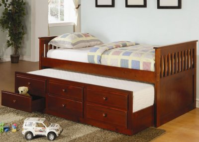 Cherry Finish Contemporary Daybed w/Trundle & Storage Drawers