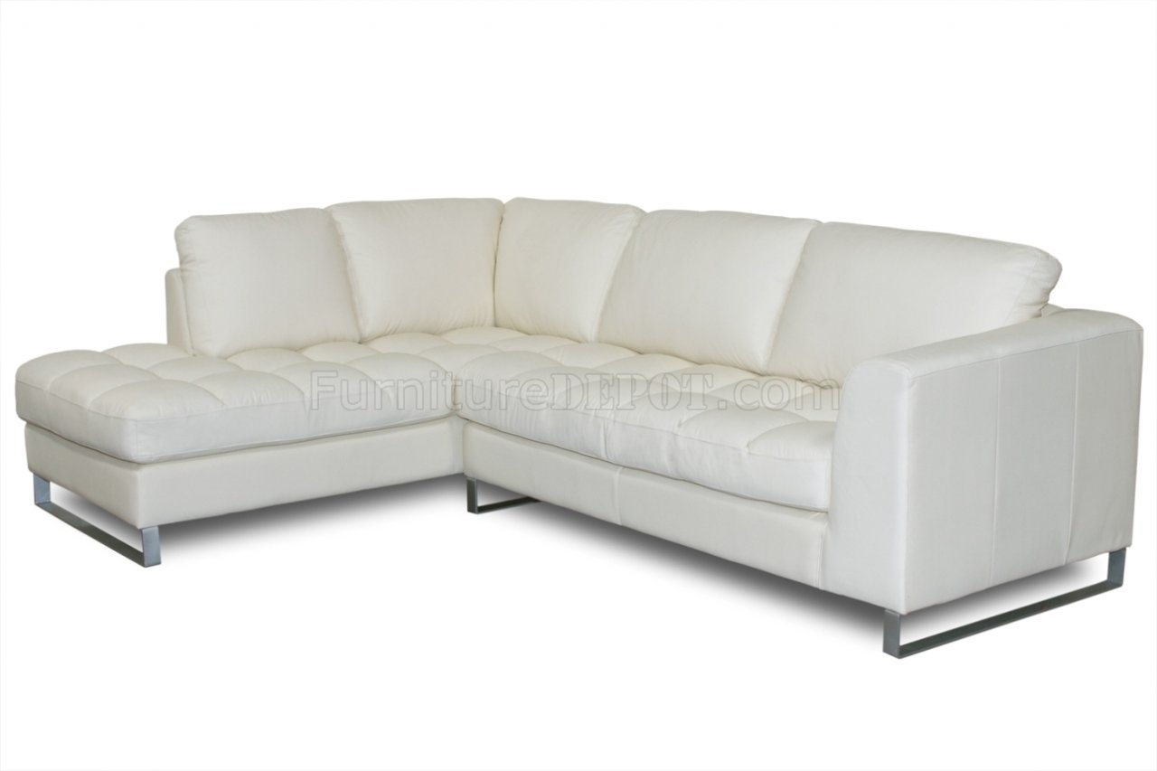 Beige Bonded Leather Valentino Sectional Sofa W Metal Legs