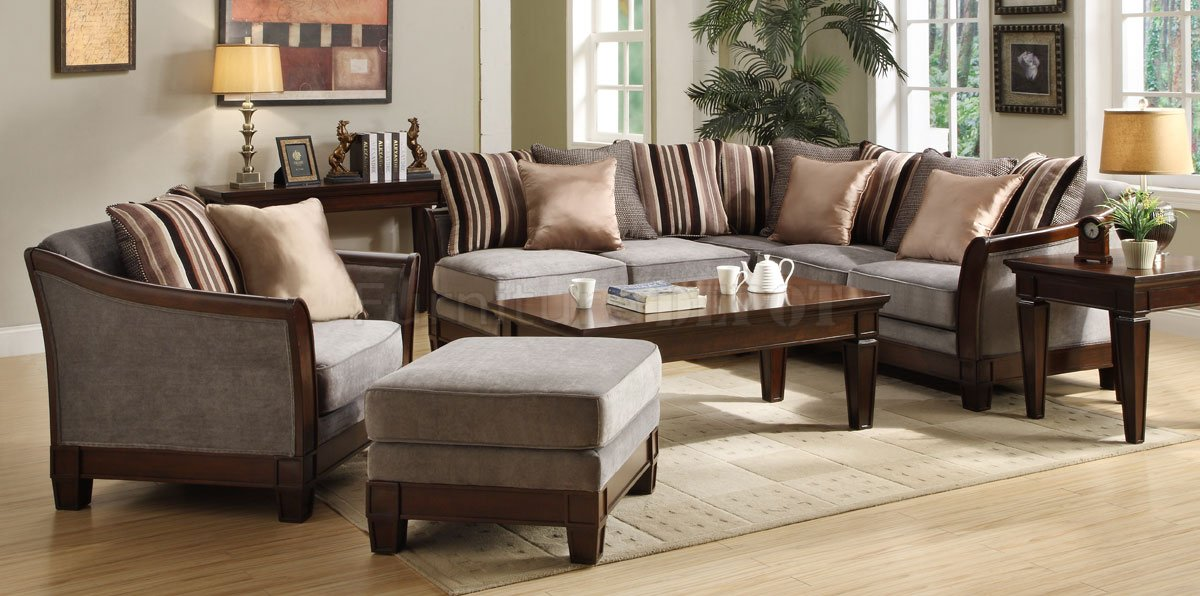 9927nf trenton sectional sofa homelegance grey velvet for Homelegance trenton sectional sofa in grey velvet