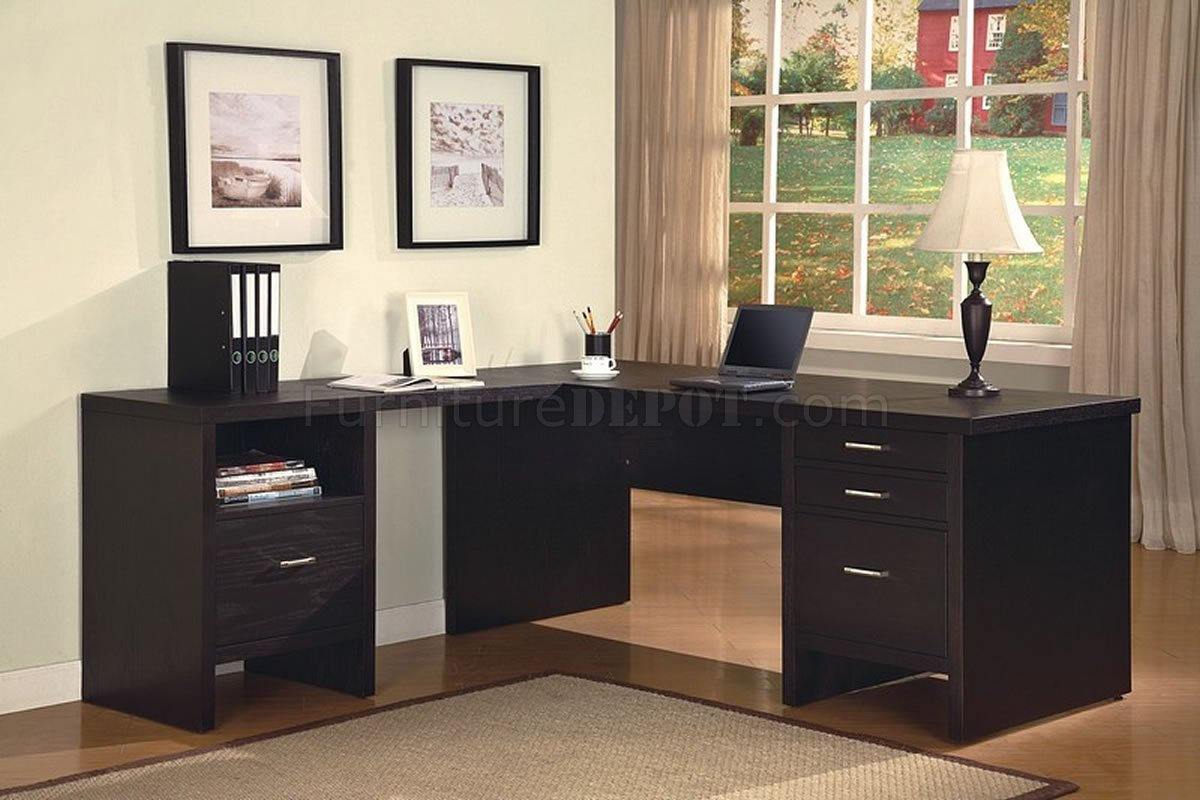 Office Furniture: Dark Wenge Matte Finish Contemporary Office Desk