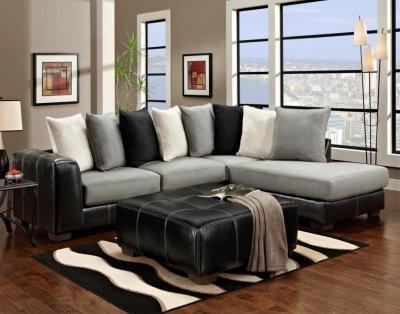 Black Vinyl Amp Grey Fabric Modern Sectional Sofa W Options