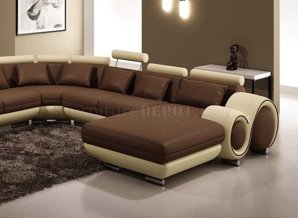 4084 Sectional Sofa In Brown Amp Tan Bonded Or Half Leather