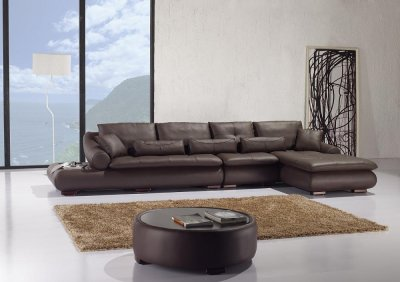 Espresso Full Leather Sectional Sofa W Matching Coffee Table