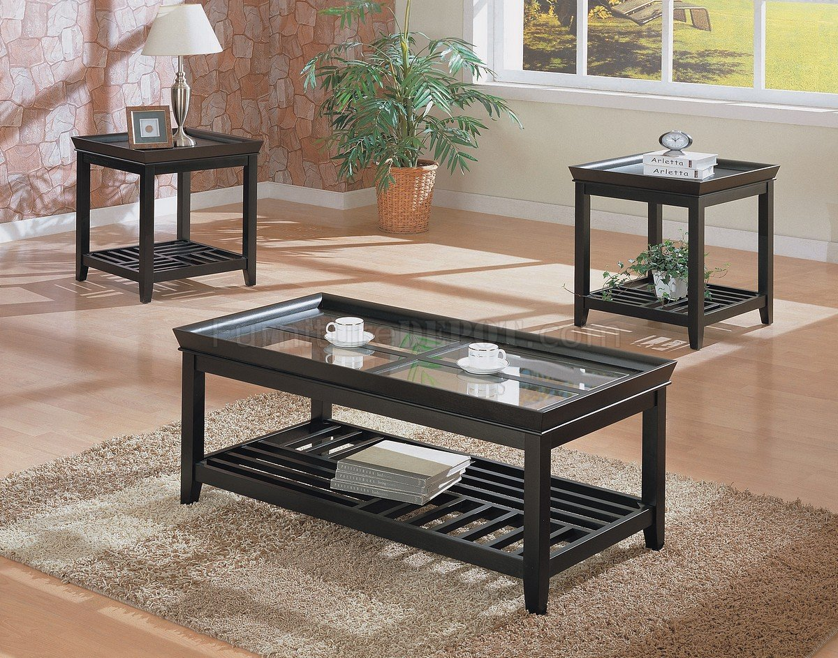3pc Coffee Table Set W Beveled Gl Tops