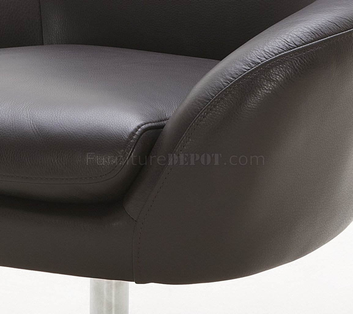 Orange Brown Or Off White Top Grain Leather Modern Swivel