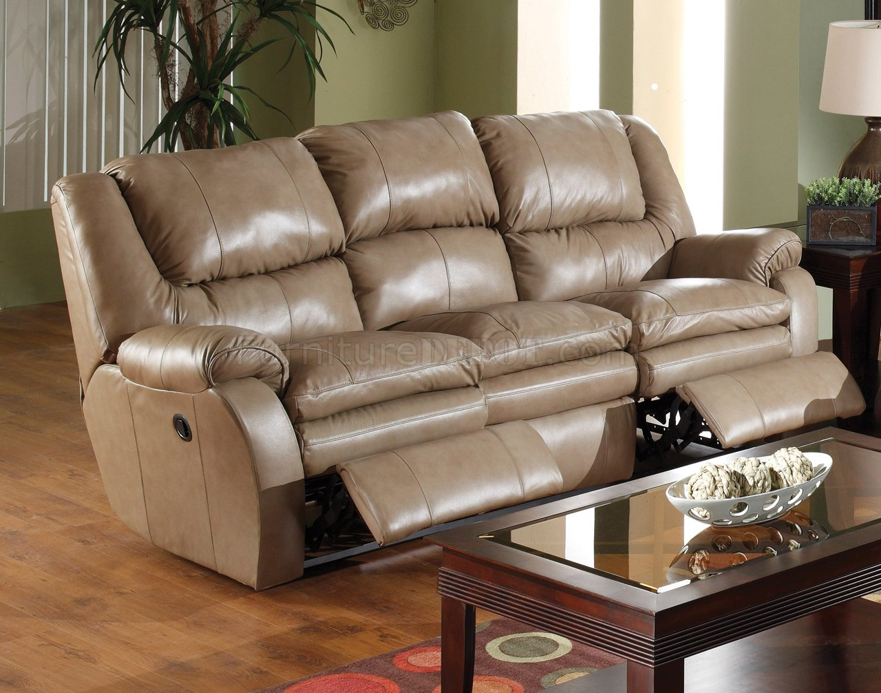 Catnapper Mushroom Top Grain Leather Allegro Reclining Sofa Set