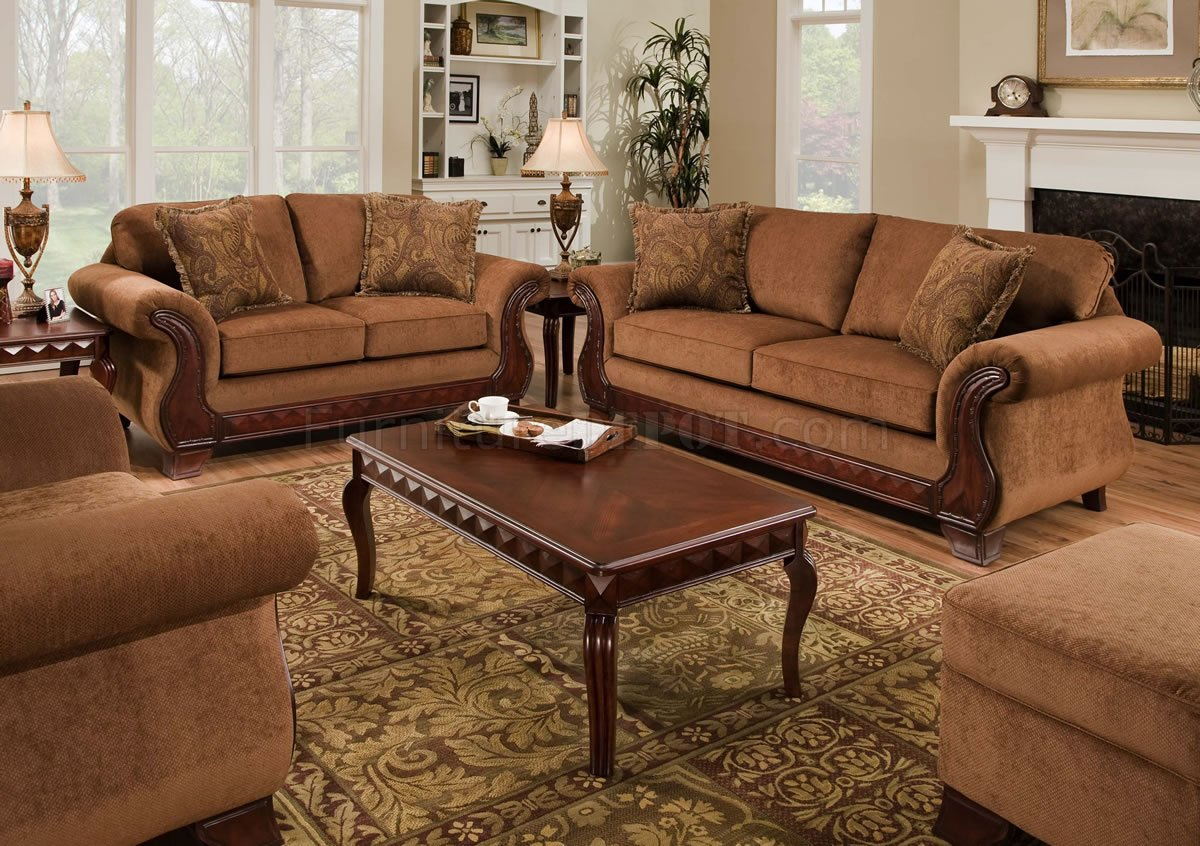 Tobacco Fabric Traditional Sofa Amp Loveseat Set W Optional