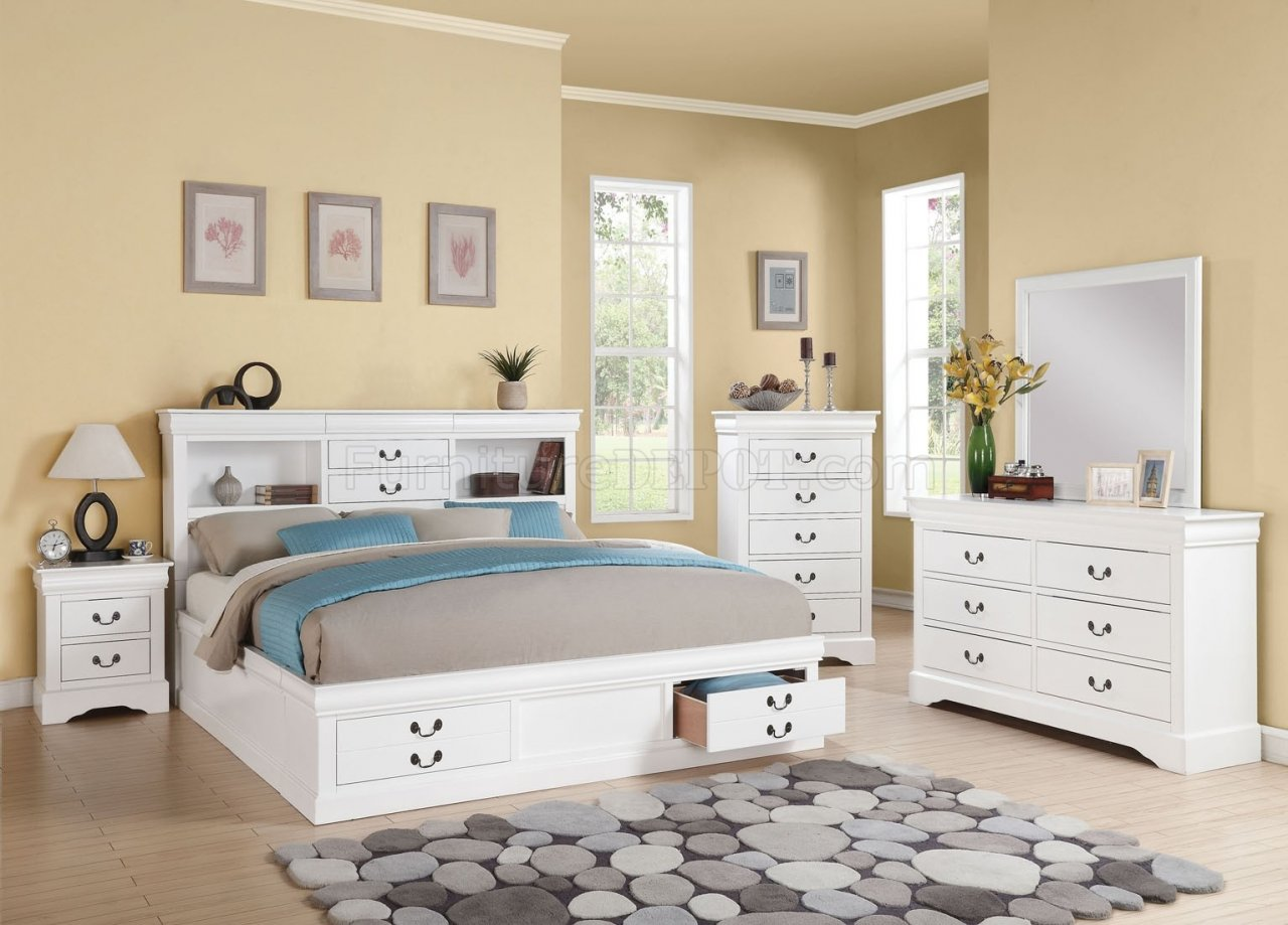 Louis Philippe III 5Pc Bedroom Set in White by Acme w/Options