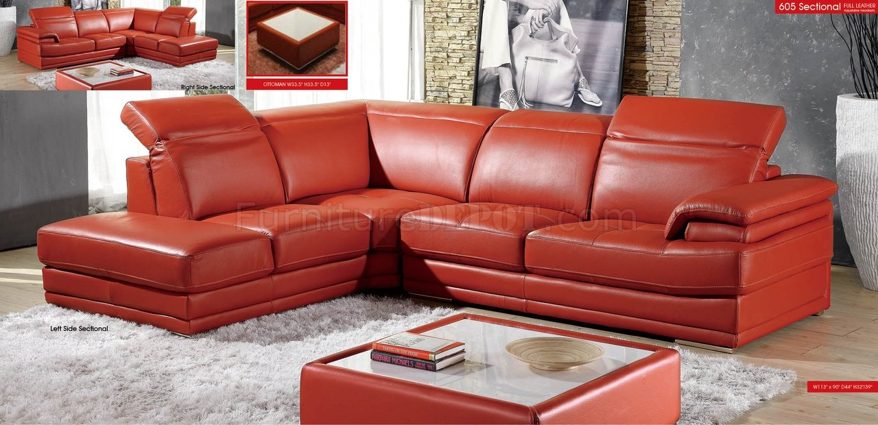 Modern Full Leather Sectional Sofa 605 Orange
