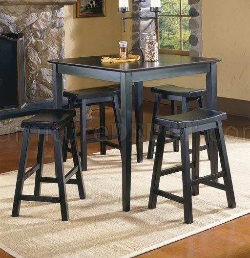 Black Finish Modern 5pc Counter Height Dinette Set W