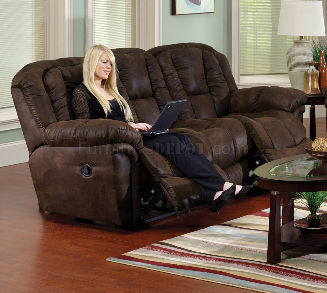 chocolate faux leather contour reclining sofa loveseat set