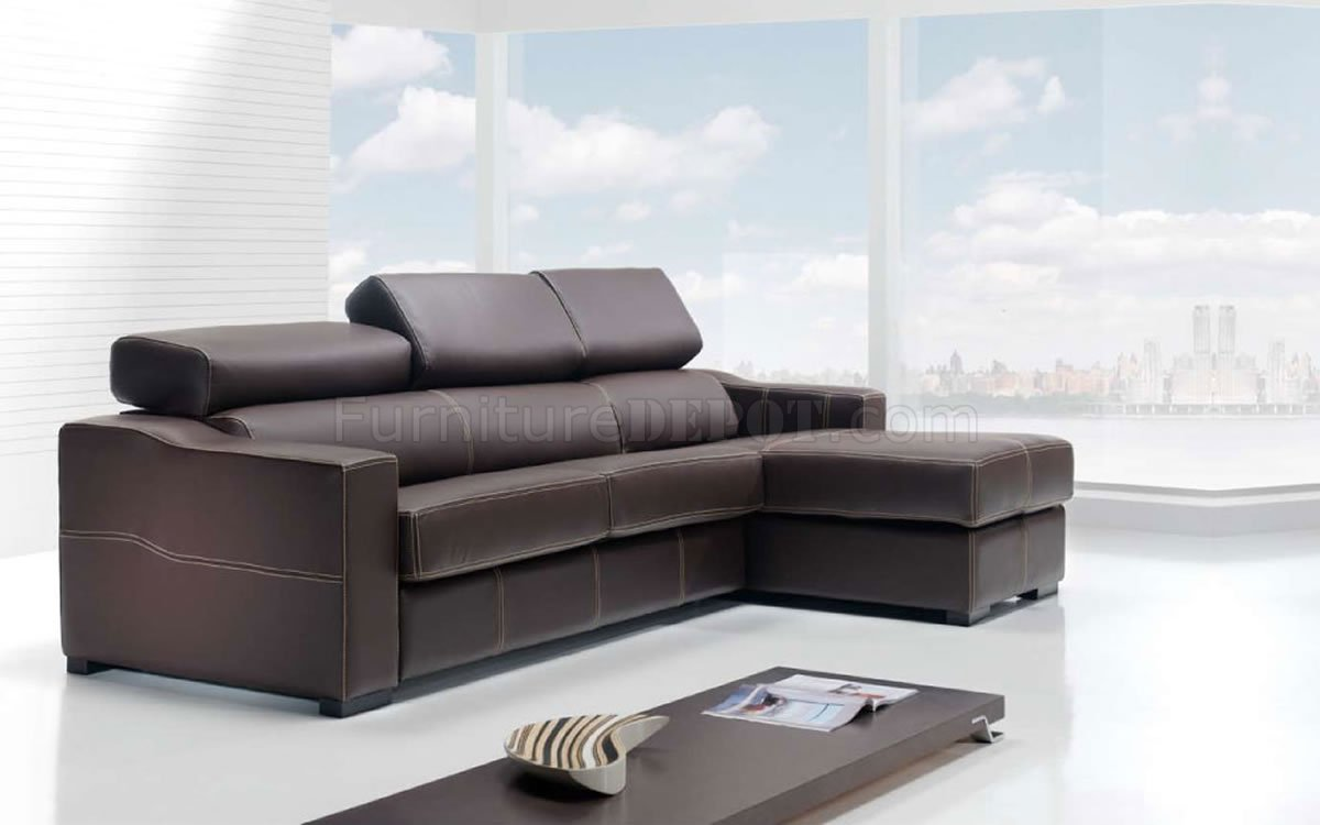 Modern Leather Sectional Sofa Lucas Brown
