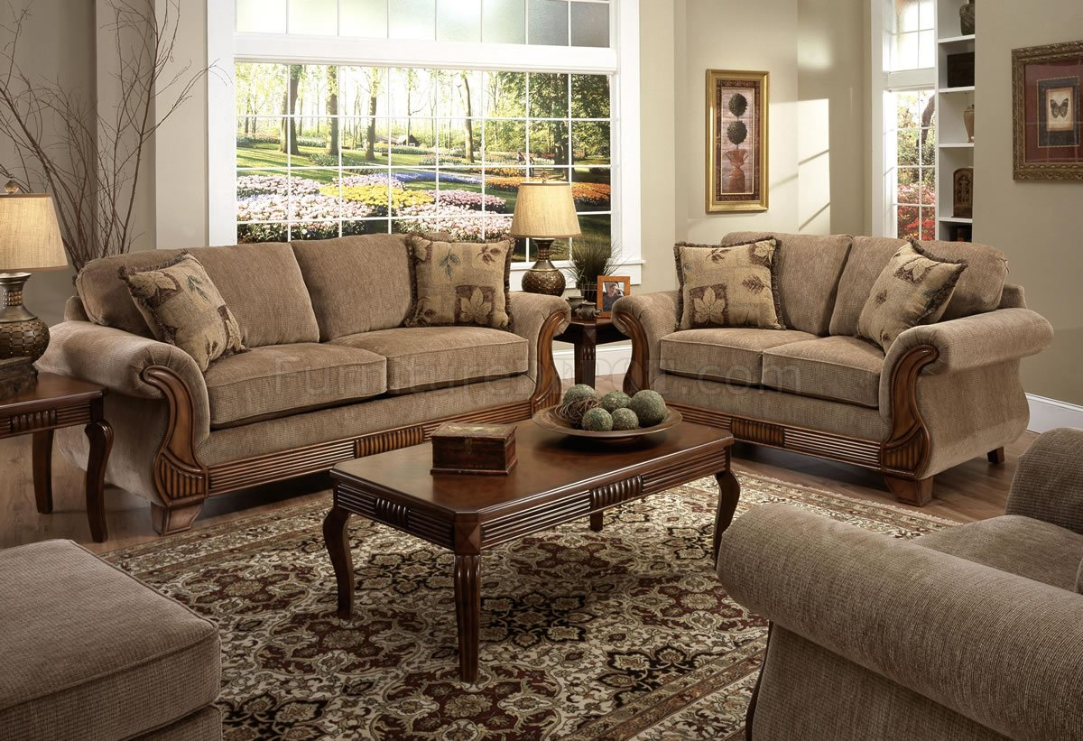 Tan fabric traditional sofa loveseat set w optional items for Traditional living room furniture