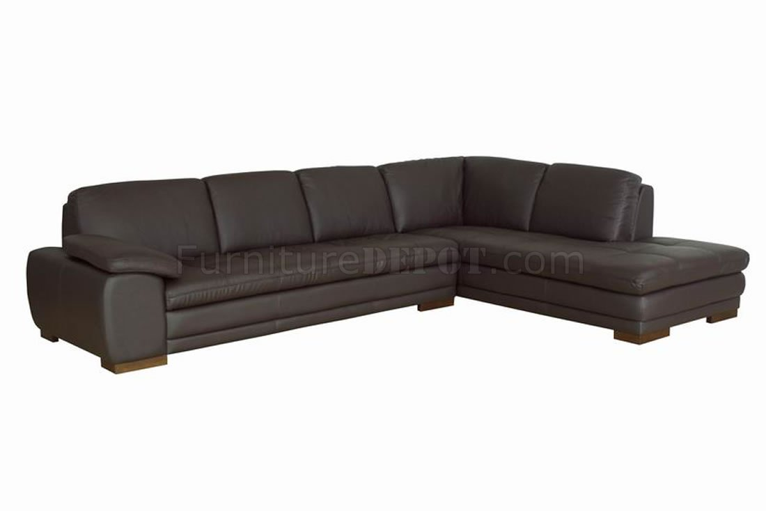 Brown tufted leather right facing chaise modern sectional sofa for Brown leather sectional with chaise